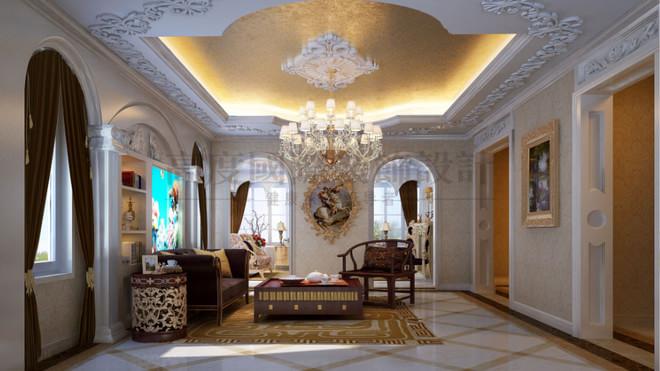 古典欧式 设计说明:采用金花米黄大理石