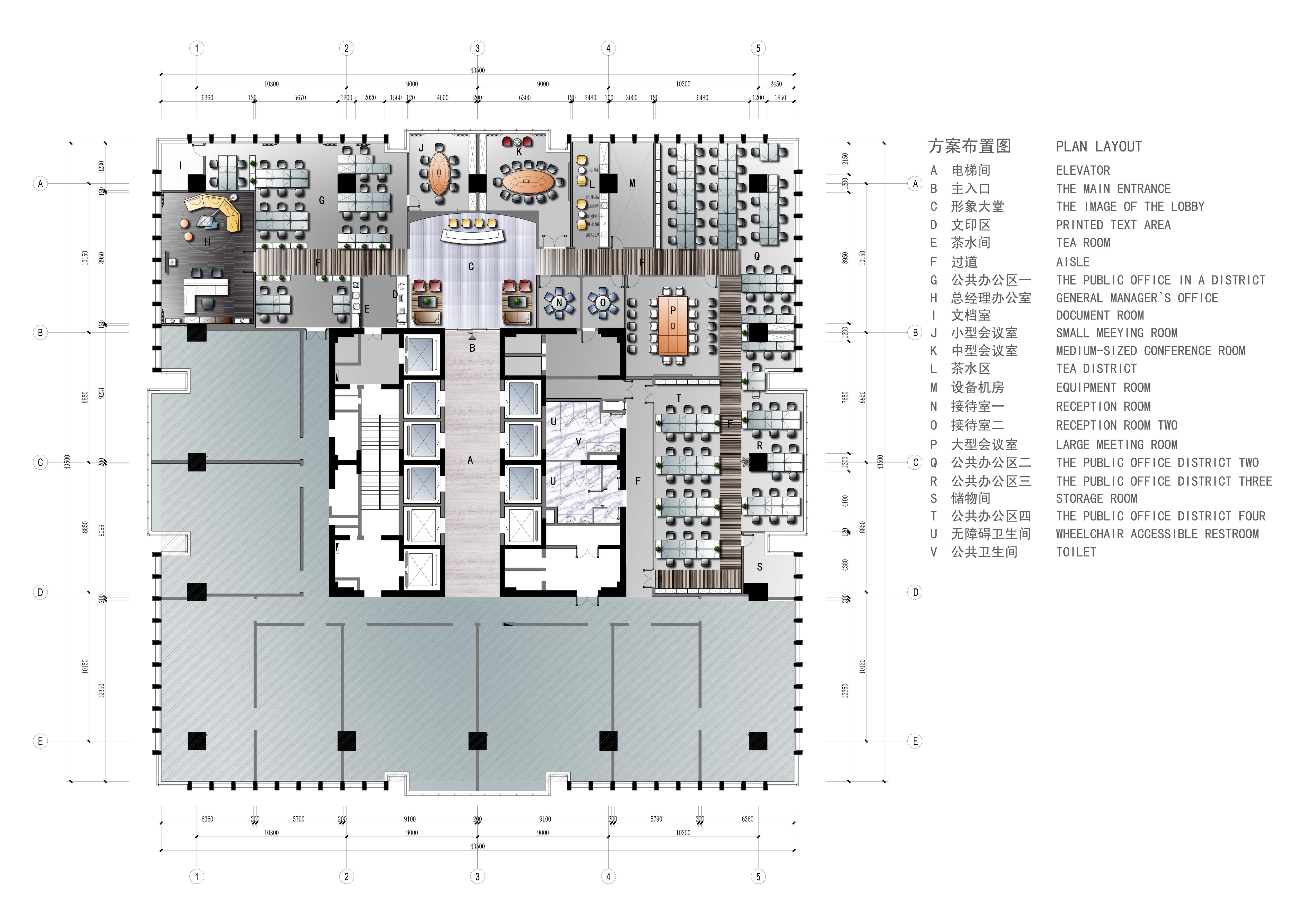 办公楼设计平面图-四层办公楼设计平面图-写字楼办公室平面图图-办公
