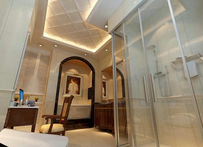 设计说明: 一层客厅:中式木雕,屏风,茶室,大理石电视背景墙,木雕吊顶