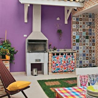 60-80平米一居风格紫色客厅壁炉装修效果图大全2014