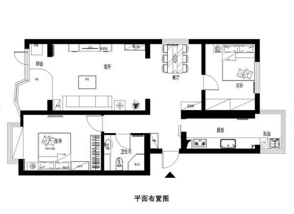 100平二房欧式装修柔和的色彩以衬托空间的主题