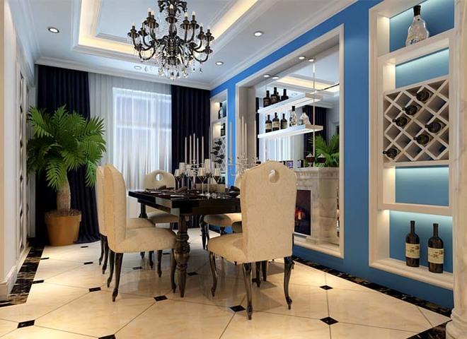 客厅:简单大方、白色大理石 设计理念:客厅的设计电视背景墙采用天然大理石搭配欧式石膏板造型,简单大方。蓝色沉稳的底蕴与白色的简约做搭配,让宁静的夏天增添了一丝凉意。顶面做石膏板吊顶,里面暗藏灯带,配以古铜铁艺吊灯,高贵典雅。家具选择方面以白色简约的欧式家具为主,与整体色彩完美融合,新古典范十足。