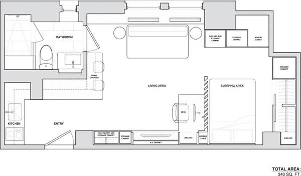 这一单间公寓位于纽约曼哈顿,由allen killcoynearchitects设计,吃饭