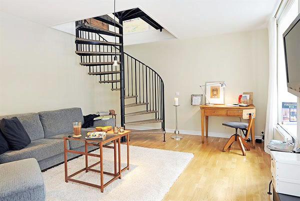 白色94平米极简主义复式公寓