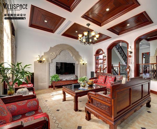 常熟怡景湾400平米联体别墅实景《怡静》--美式混搭装修效果图