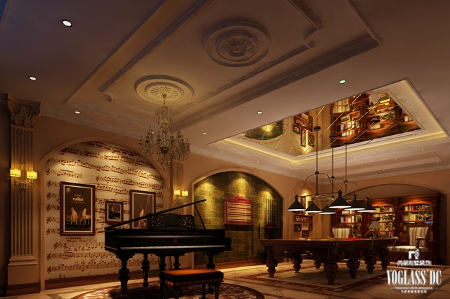 这是远洋傲北一套欧式新古典主义休闲娱乐别墅空间设计。由于业主对于休闲生活要求比较高,所以在整体别墅装修设计过程中,设计师根据业主的需求增加了许多功能空间,例如SPA间、台球室、钢琴区等等区域,同时由于业主信奉佛教,所以在空间中增加了佛堂。不同空间用不同的别墅软装配饰展示不同的主题,钢琴区壁纸选用乐谱壁纸,体现音乐文化;佛堂以实木原色展现庄严的气息;餐厅与客厅以米灰色的壁纸与空间达到一直。