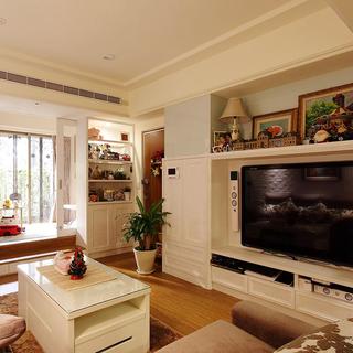 60-80平米二居乡村田园风格客厅电视背景墙装修效果图