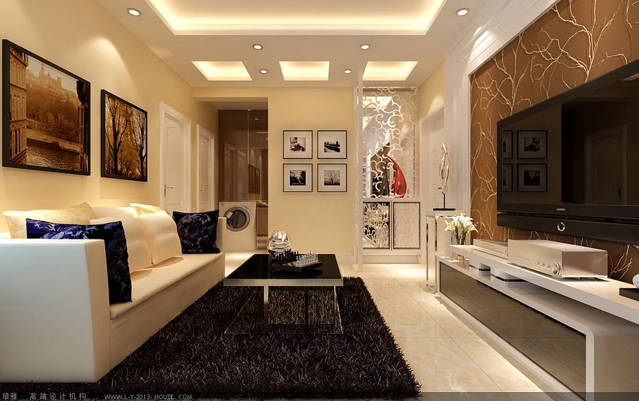 客厅欧式白色花雕