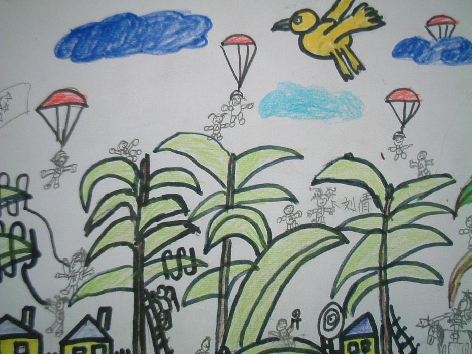 你听过巨人和小矮人的童话吗?如果你突然变得很大或很小,会发生什么意想不到的事呢?请你展开想象的翅膀,创作一幅作品。比比看,谁的构思最新奇。