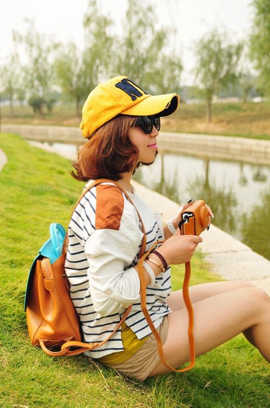 【小一】出游,经典条纹+短裤 - 小一 - 袁一诺vivian
