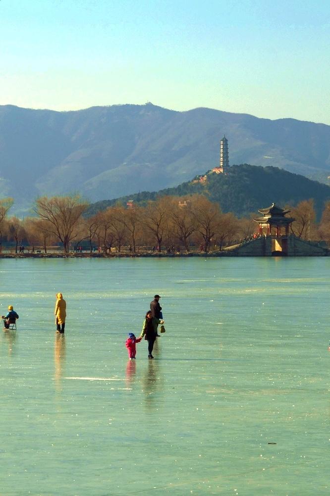 冰上昆明湖美景——十七孔桥周边风景