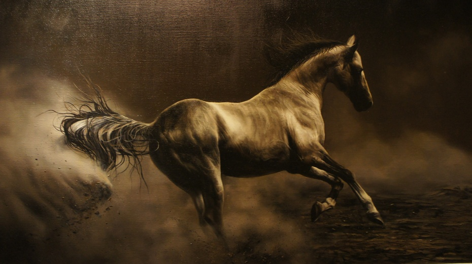 画中的马既有现在世界上非常珍贵的普氏野马,汗血宝马,也有普通的马.