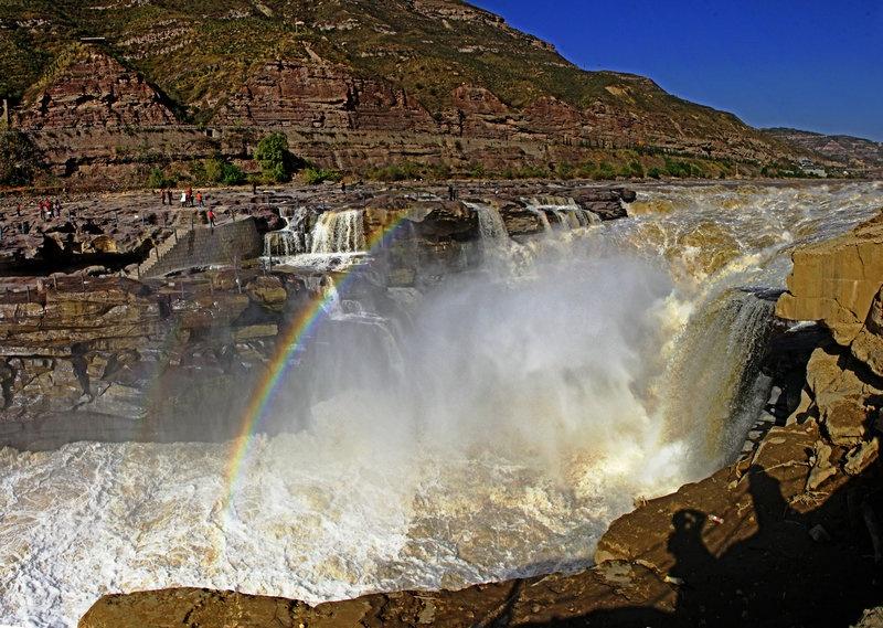 黄河巨龙汹涌奔腾,壶口瀑布晴日观虹--山西黄河行之六 - 侠义客 - 伊大成 的博客