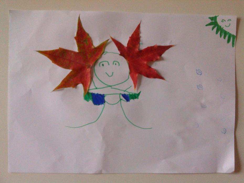 银杏叶充当荷叶     育儿,需解除浮躁, 简单的陪陪孩子,做做手工.图片