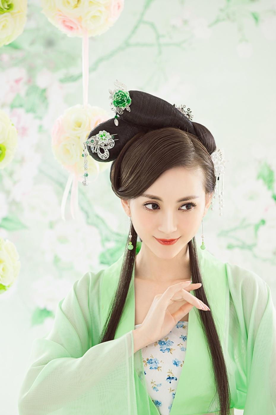 长发古装_古装美女长发长发_少女红衣美美女脸照韩国古装图片