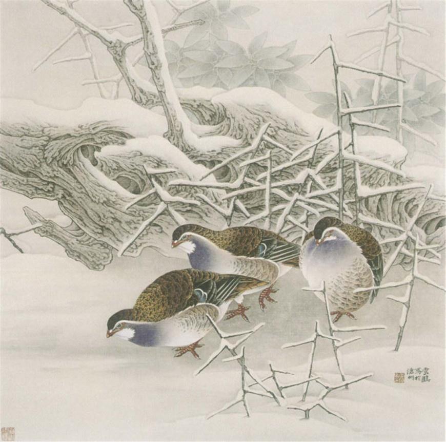 [转载]国画】中国现代著名画家田云鹏工笔花鸟画欣赏