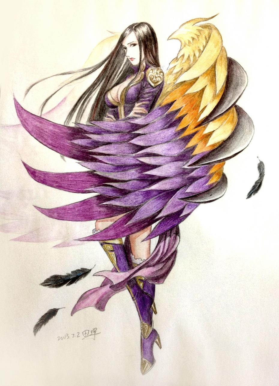 带翅膀动漫人物彩铅简单