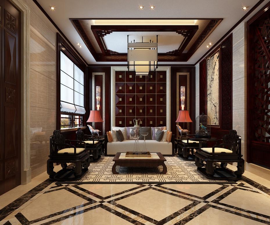 [一楼会客厅] 步入四米宽的大门 [一楼会客厅] 一整块玉石为整个中式