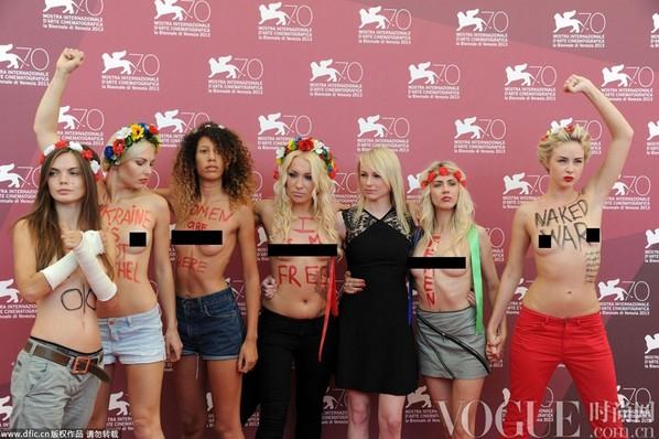女权团体半裸亮相电影节 - VOGUE时尚网 - VOGUE时尚网