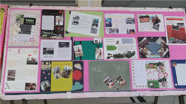 """2013年9月13日,安生国际课程中心宜兴中学分部在校国际交流中心举办了""""快乐暑期""""学生海报制作大赛,五彩斑斓的海报展示了大家丰富多彩的暑期社会实践活动,也充分体现学生的设计和制作能力。 宜兴中学国际部在上学期结束时动员并安排高一、高二年级学生进行暑期实践活动,锻炼组织、协调能力,并要求大家在开学初以海报形式展示自己的实践成果。 于是,学生们这个暑假过得相当充实,高一学生参加暑期军训及安生举办的夏令营;高二学生有的到生态农场参观实习,有的到森林公园做环卫工作,有的到大觉寺做义工,还"""