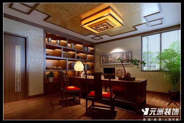 书房:顶面为实木顶角线,通顶的书柜使空间更完整的利用,当高清图片
