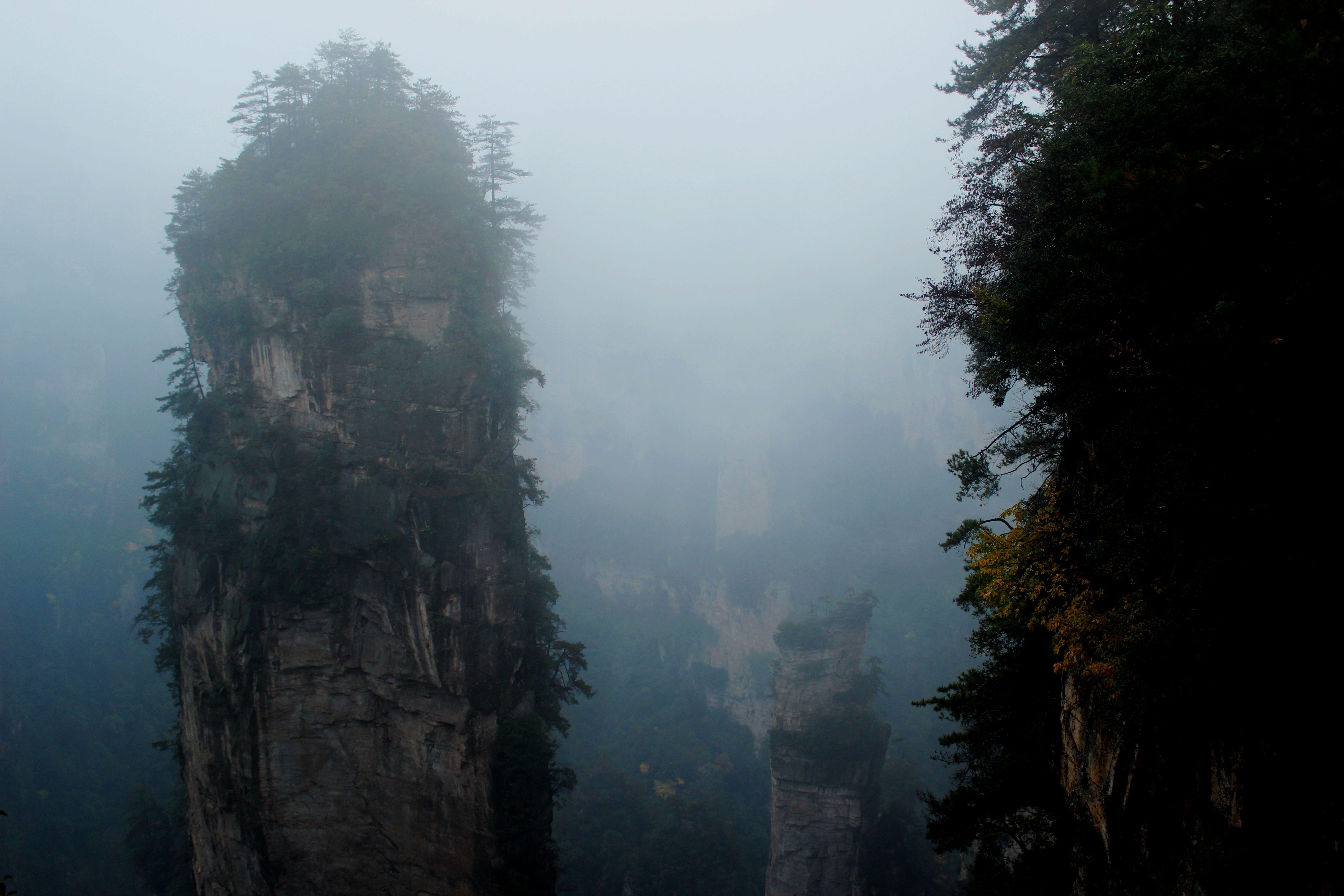 烟雨中的老山风景区