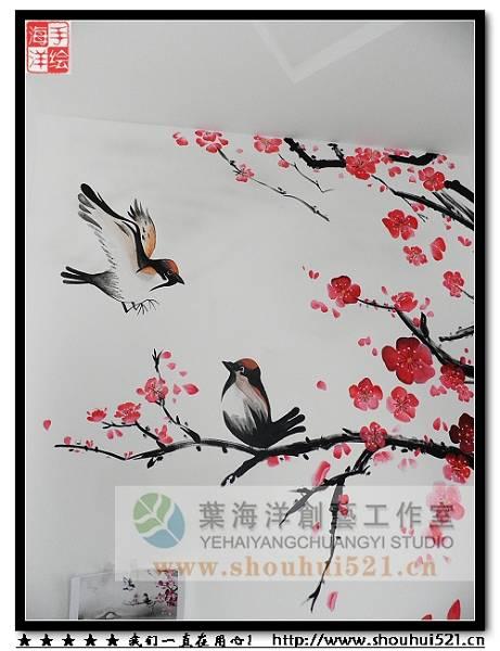 西安/咸阳手绘墙,咸阳墙体彩绘,咸阳壁画,叶海洋墙绘--中国风-写意