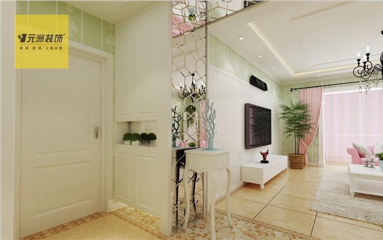 客厅设计说明:电视墙隐形门的设计更整体,客厅大垭口造型的设计美观