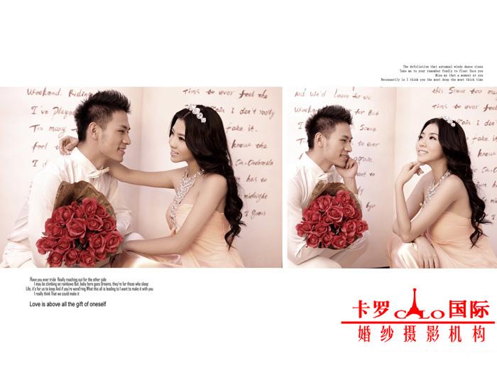 枣阳卡罗国际单色背景婚纱照的复古潮