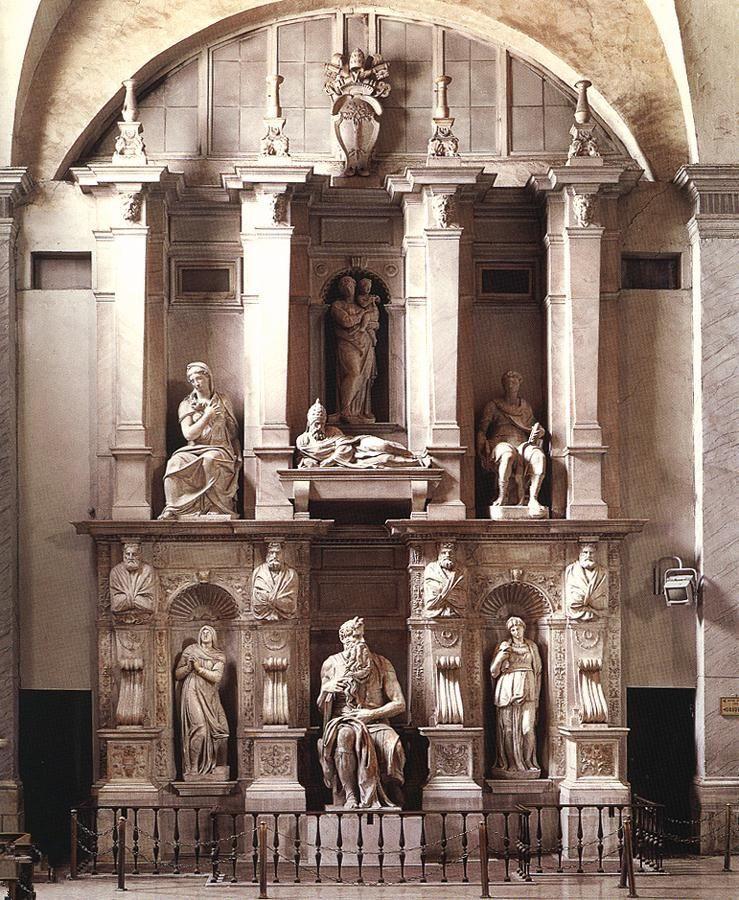 并将著名的雕塑家米开朗基罗招来为他工作