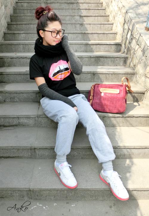 大爱的嘴唇T恤 - 橙anko - Anko