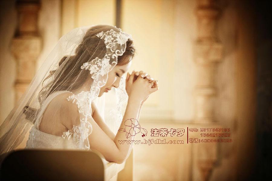 森女系的新娘发型拍摄唯美北京婚纱照图片