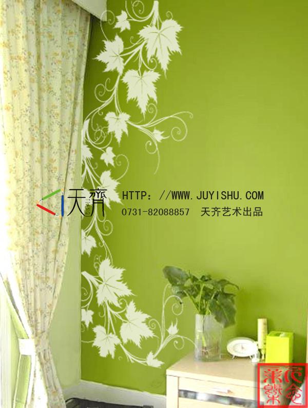 简约绿色藤蔓手绘墙画,卧室背景手绘墙