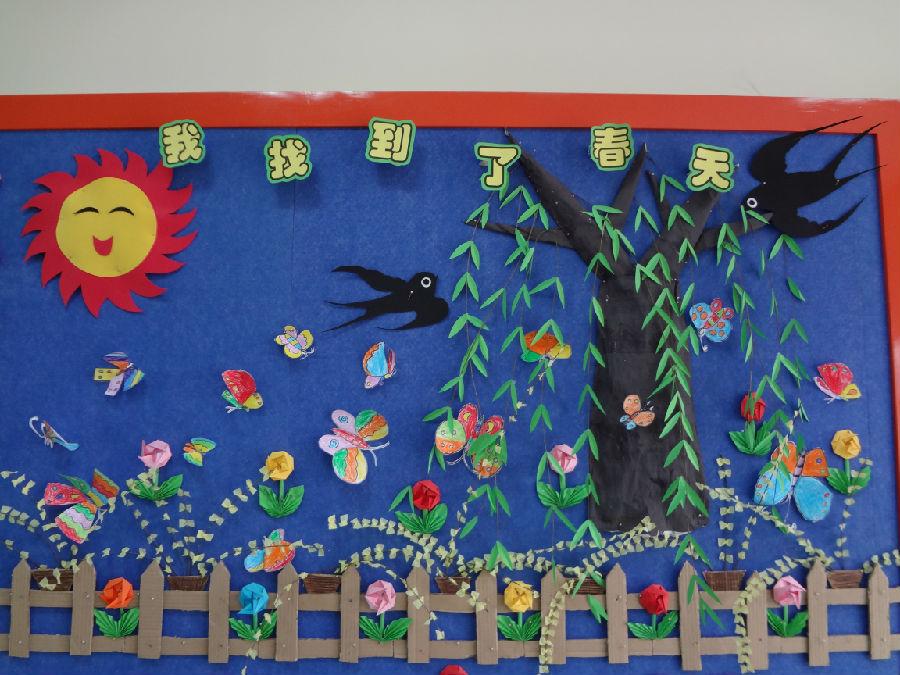 又到了春暖花开的季节,为了丰富我们小朋友的学习环境,主题墙也从秋天图片