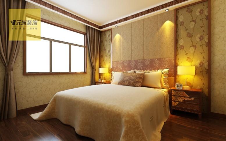 次卧室:床头中式花纹壁纸搭配软包床头