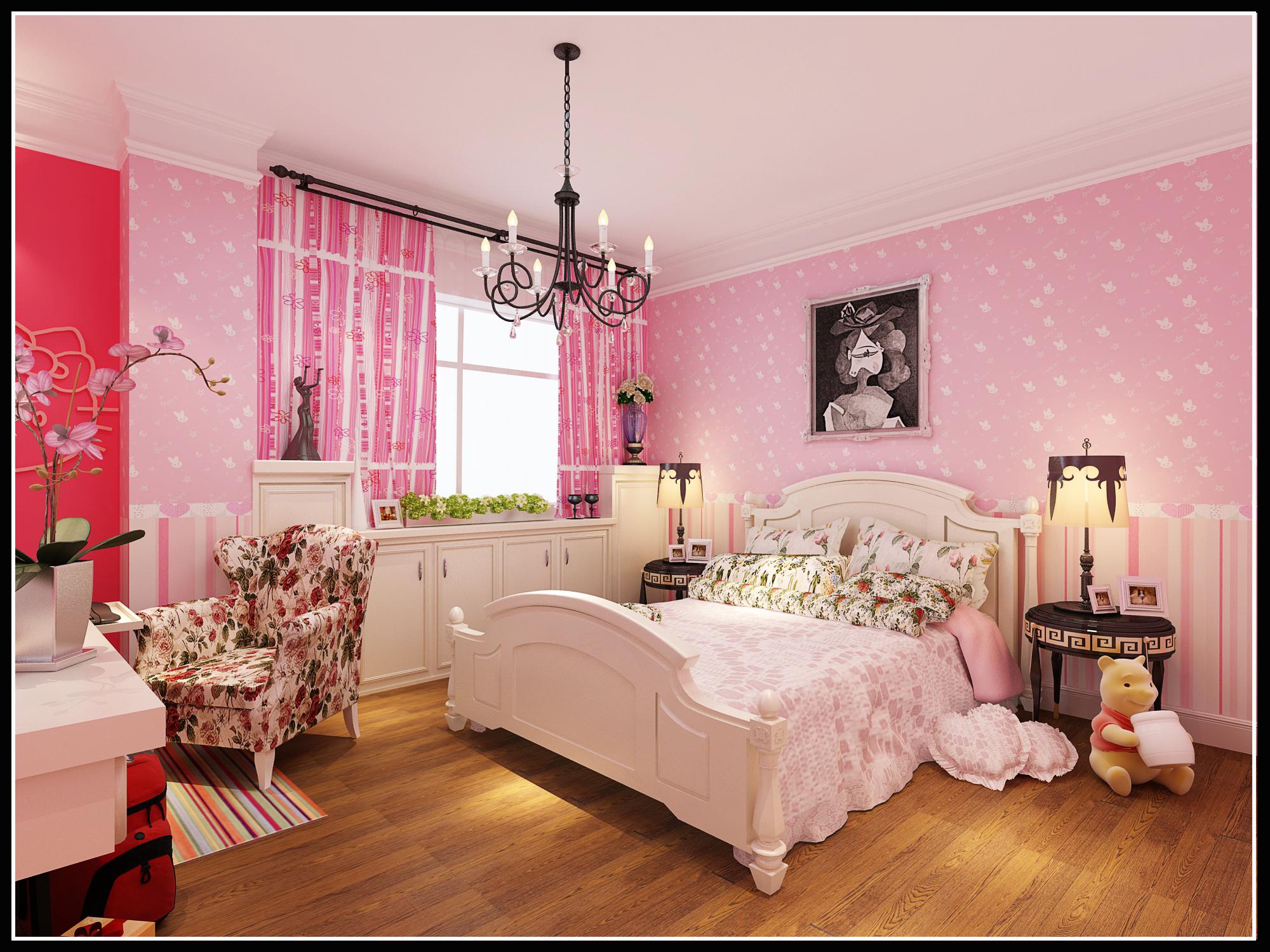 粉色儿童房床头背景