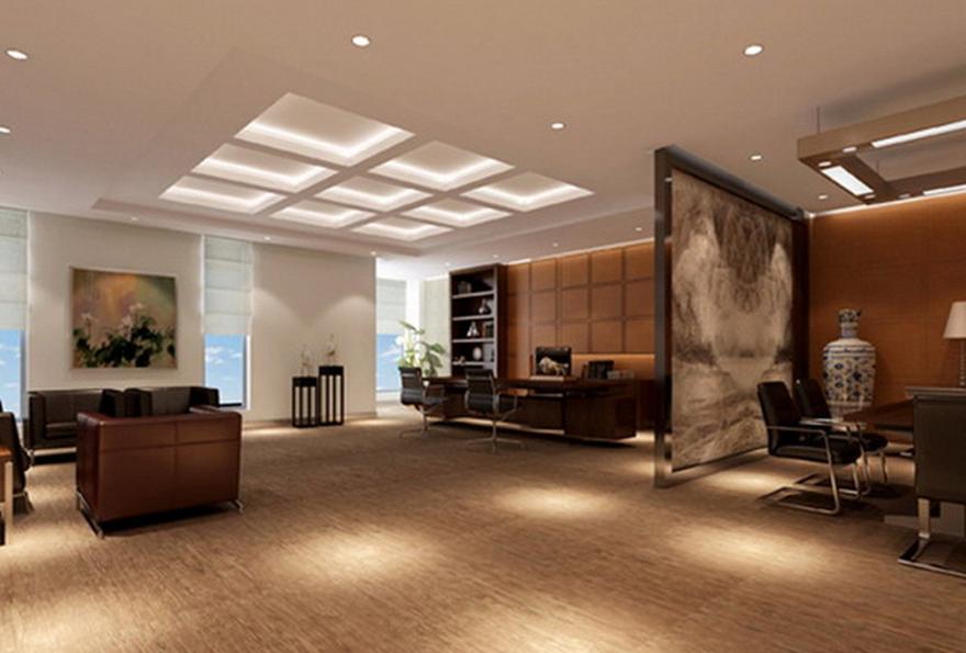 如果办公室装修前台的装饰是以壁纸为主的话,那么建议使用色调较暗的