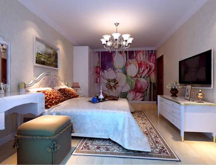 实创装饰珠江帝景124平三室两卫欧式装修效果图