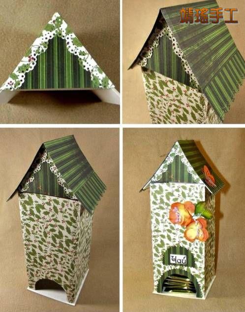 小房子袋茶收纳盒手工小制作教程图片