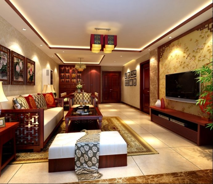 寓220平米新中式风格装修效果图 实创装饰高清图片