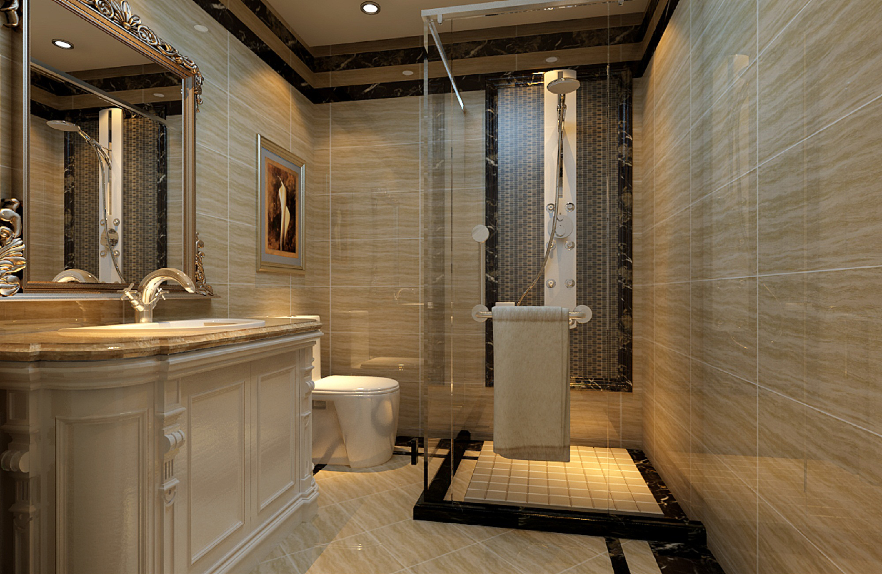 浪漫豪华欧式15万装修百泉家园140平米三居装修案例