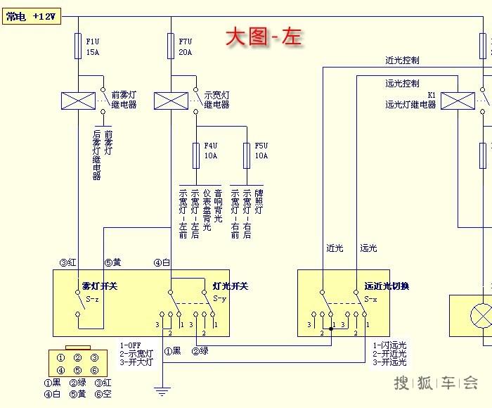 分析电路可知,赛欧所有的灯光是通过继电器来控制