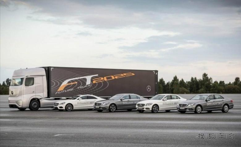 可以无人驾驶啦 奔驰展示未来卡车 高清图片