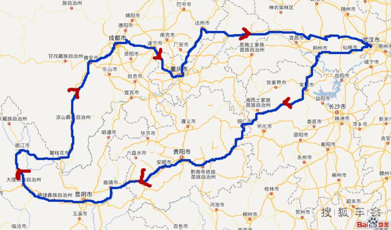 长沙到成都旅游路线图